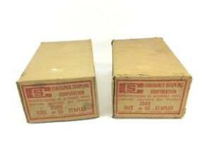 X2 Vintage Container Stapling Corp 58 Wide Crown Box Staples 4000 Count