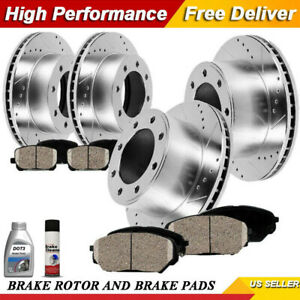 Front Rear Drilled And Slotted Disc Brake Ceramic Pads For Chevy Gmc Sierra 2500
