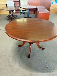 48 Round Conference Table By Kimball Office Furniture In Cherry Finish Wood