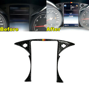 Real Carbon Fiber Steering Wheel Dashboard Panel Trim For 15 20 W205 C63 Amg G
