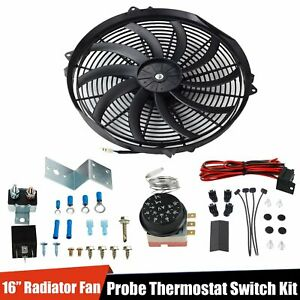 Radiator 12v Fan Thermostat Control Relay Wire 16 Slim Push Pull Cooling Fan Kit