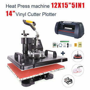5in1 Heat Press 12 x15 14 Vinyl Cutter Plotter Business Printer Sublimation