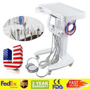 Portable Mobile Dental Delivery Unit System Cart Treatment Equipment 4 Hole Move