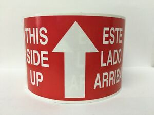 Arrow This Side Up Spanish Handling Care Warning Stickers 3 x5 300 Labels