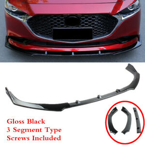 Fit For Mazda 3 2019 2021 Black Front Bumper Lip Spoiler Splitter Underbody