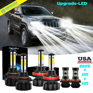 For Jeep Grand Cherokee 2014 2018 6x 6000k Combo Led Headlight Fog Bulbs Kit