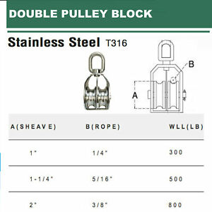 Stainless Steel 316 Double Pulley Block For Wire Rope Chain 1 1 1 4 2