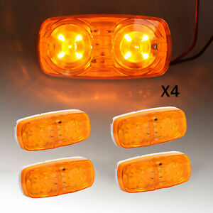 4x Amber Trailer Side Marker Led Light Double Bullseye 10 Diodes Clearance Lamp