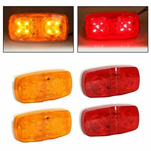 4x 10 Diodes Led Trailer Marker Light Double Bullseye Clearance Red Amber