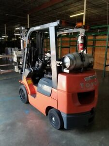 Refurbished Toyota 7fgcu 25 3 Stage Forklift With Forks Carriage