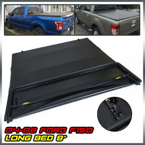 8ft Long Bed Four fold Lock Soft Tonneau Cover Kit For 2004 2008 Ford F150
