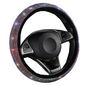 5 Colors Car Steering Wheel Cover Wrap Rhinestones For Woman Girl Lovely Cute