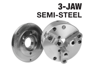 6 3 Jaw D1 3 Semi steel Self Centering Scroll Lathe Chuck And Adapter Kit