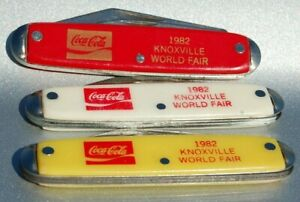 Set 3 Colors VINTAGE KNIFE USA Coke COCA COLA 1982 Worlds Fair Red Yellow White