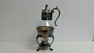 Vintage F B Rogers Silver Co Silverplate Glass Electric Footed Teapot Cord
