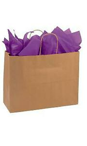 Large Natural Kraft Paper Shopping Bags 16 l X 6 d X 12 h Case Of 250