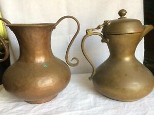 Lot Of Two Vintage Antique Copper Brass 7 Jug Coffee Pots Milk Jug Ewer