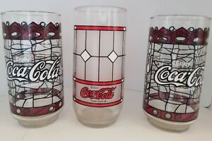 Vintage Coca Cola Glasses Tiffany Stained Glass design set of four (4)