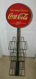 RARE ANTIQUE COCA COLA 6 PACK HOLDER STORE DISPLAY WITH DOUBLE SIDED SIGN