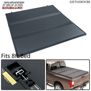 Hard Tri fold Tonneau Truck Bed Cover For 2007 2013 Toyota Tundra 8 Ft Black