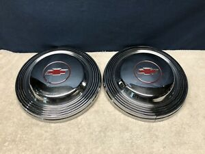 2 Vintage Oem 1965 1966 Chevy Impala Ss 427 Wagon Wall Hangers Dog Dish Hubcaps