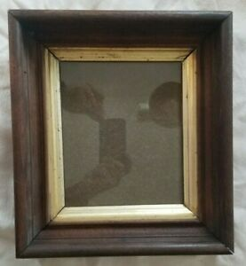 Antique Deep Victorian Walnut Gold Liner Wood Picture Frame 7 X 8 1 2