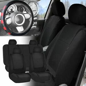 Car Seat Covers Solid Black Full Set For Auto W red Leather Steering Wheel