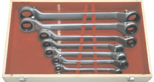 Offset Ratchet Ring Spanner Wrench Set Metric Heavy Duty 7 Piece T E Tools Gw7s