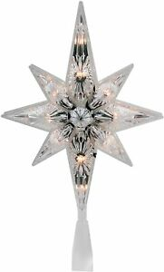 Northlight 10.75quot; Faceted Star of Bethlehem Christmas Tree Topper Clear Lights