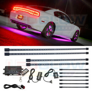 Ledglow 4pc Pink Color Under Glow Car Led Neon Light Kit W 6pc Interior Tubes
