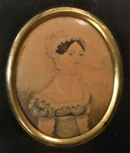 Great Antique Early 19th Century Watercolor Portrait 1825 On Reverse