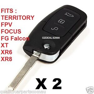 Ford 3 Button Remote Flip Key Ba Fg Falcon Xt Xr6 Xr8 Focus Territory Etc X 2