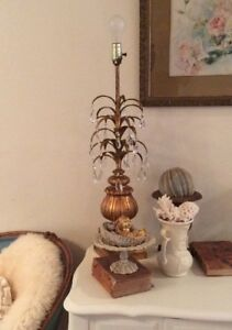 Vtg Italian Tole Gilt Gold Hollywood Regency Lamp Fern Type Of Leaves Crystals
