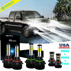 6pc Led Headlight Fog Light Bulbs For Gmc Sierra 1500 3500 2003 2004 2005 2006