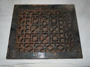 Antique Cast Iron Victorian Heat Grate Floor Wall Register 10x12 Vtg Old