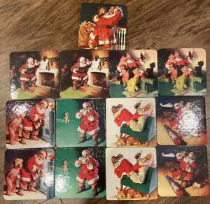 Coca Cola Coasters Set of 13 Holiday Christmas Vintage Santa Cork Backed Square