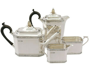 Antique Sterling Silver Four Piece Tea And Coffee Service By Roberts