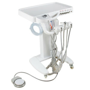 Portable Dental Delivery Mobile Cart Unit Equipment 4hole With Led Handpiece Kit