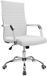 Furmax Ribbed Office Desk Chair Mid back Pu Leather Executive Conference Task Ch