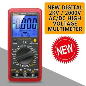 New Digital 2000v Ac dc High Voltage Multimeter Voltmeter Tester
