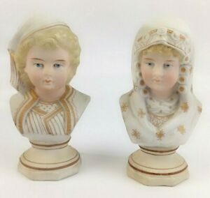 Antique Boy And Girl Pair Of Bisque Bust Busts Germany German Figurines