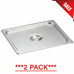 2 Pack 1 2 Size Solid Stainless Steel Steam Table Hotel Pan Cover Lid