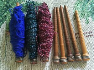 8 Vintage Wood With Metal Textile Bobbins Spools Some With Yarn