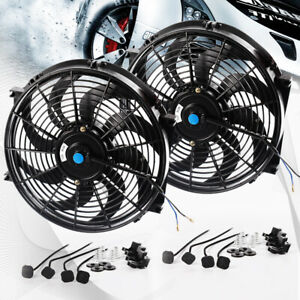 2 14 Inch Universal Pull Push Electric Radiator Racing Slim Engine Cooling Fan