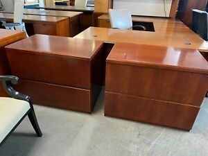 2dr 36 w Lateral File Cabinet By Kimball Office Furniture In Cherry Finish Wood