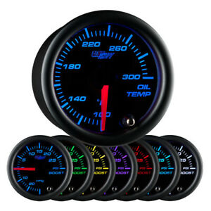 Glowshift Black Clear Lens 7 Color Oil Temperature Gauge Gs C707