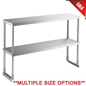 Multiple Sizes Stainless Steel Work Prep Table Commercial Double Deck Overshelf