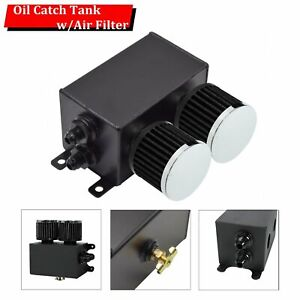 10an Oil Catch Can Reservoir Tank 2 Ports With Breather Filter Baffled Aluminum