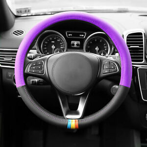 Leather Steering Wheel Cover 2 In 1 Design For Atuo Car Suv Sedan Van Purple