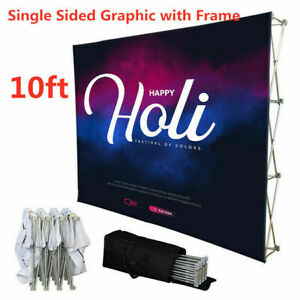 10ft Tension Fabric Pop Up Display Trade Show Wall Graphic Include Single Sided